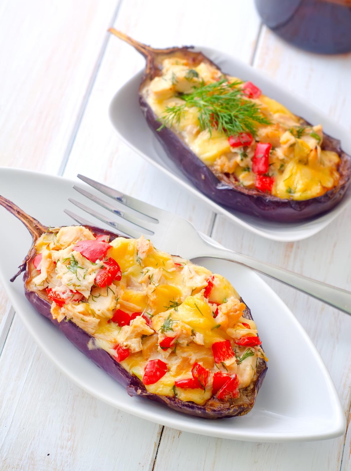 stuffed eggplants on the white plate